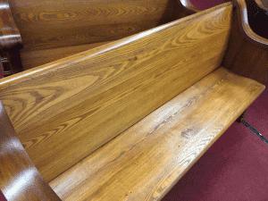 refinishing antique church pew