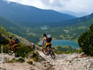 Mountain biking overlooking lakes