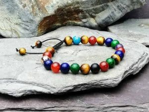 multi coloured beaded Bracelet essential oil diffuser chakra cleansing
