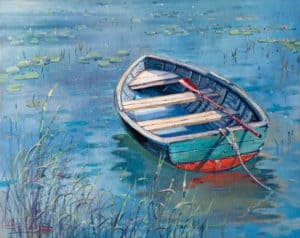 painting of boat lake