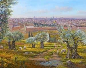 olive trees jerusalem painting
