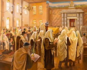 Jewish Painting in synagogue praying