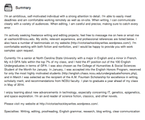 Example of a good summary section.