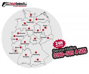 falsch getankt Deutschland Servicegebiet www.falschtanken24.de 0160-5054505