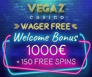 150 free spins + 350% bonus up to 1000€