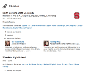 Example of Education experience section on LinkedIn.