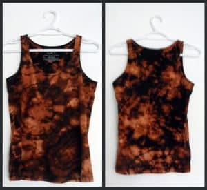 Black t shirt reverse tie dyed with bleach
