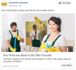 Example Cleaning Business Facebook Ad 2