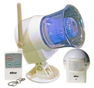 HomeSafe Outdoor Siren With Flashing Light Remote And OutDoor Adjustable Motion Sensor Bundle Package