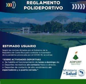 Carte color azul que indica el reglamento del polideportivo La Fortuna San Carlos