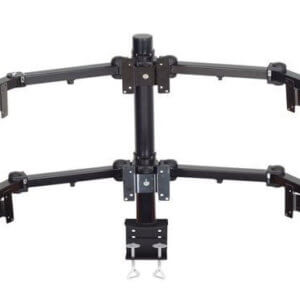 Premier Mounts 2 Triple Display Multi Monitor Arms On 28′ Tube With Clamp Style Base. MM-AC286
