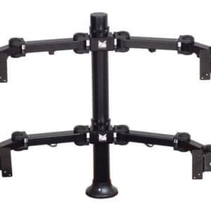 Premier Mounts 2 Dual Display Multi Monitor Arms On 28′ Tube With Grommet Base. MM-AH284