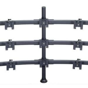 Premier Mounts 3 Triple Monitor Curved Bow On 42′ Style Tube With Grommet Base. MM-BH429