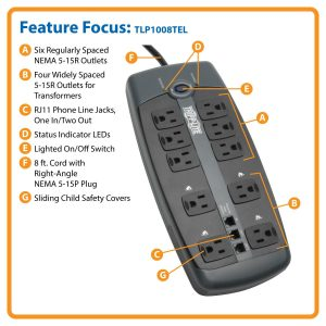 Tripp Lite TLP1008TEL Surge Protector core features