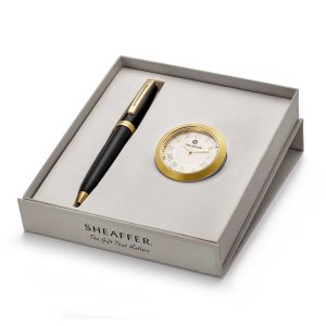 Sheaffer 346 Ballpoint Pen With Gold Chrome Table Clock Rs. 4400