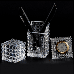 Glass Office Table Accessories Set - Clock, Pen Holder, Paper Weight