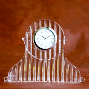 Tambour Crystal Glass Desk Clock
