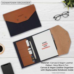 Downtown Vegan Leather Organizer - Navy Blue & Tan Brown