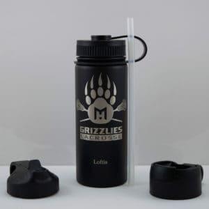 Grizzlies Bottle - 18oz - Grizzly Paw + Lacrosse Sticks Graphic