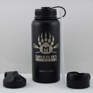 Grizzlies Bottle - 32oz - Grizzly Paw + Lacrosse Sticks Graphic