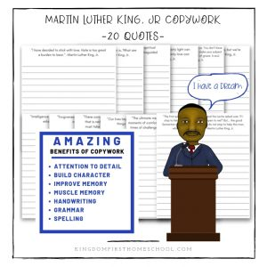 Martin Luther King, Jr Copywork for Homeschoolers
