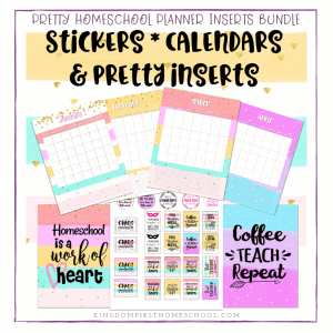 Pretty Homeschool Planner Inserts Bundle