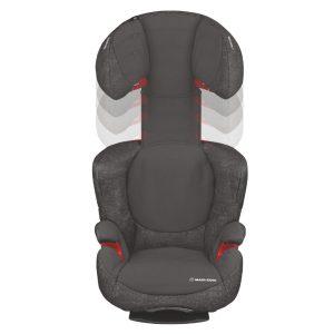 Höj- och sänkbart nackstöd/ryggstöd med sidoskydd gör så att bältesstolen kan växa med barnet