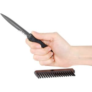 Comb Metal Hidden Knife Black In Hand Blade Shown