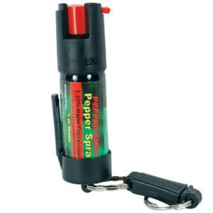 Pepper Shot 1.2% MC 1/2 oz Pepper Spray Belt Clip and Quick Release Key Chain Front View