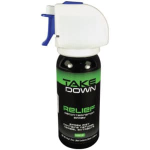 Side view of can of relief decontamination spray contains natural herbal extracts