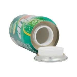 can of 7up diversion safe laying in side with bottom open
