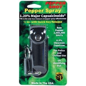 black pepper shot pepper spray in leatherette holder in package
