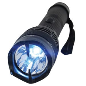 black flashlight badass stun gun close up front