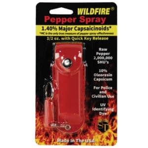 1/2 oz wildfire pepper spray with leatherette holster red in package