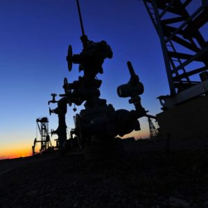 Wellhead with sunset in background