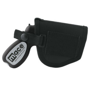 Side View of Mace Pepper Gun Holster with Black Gun inside