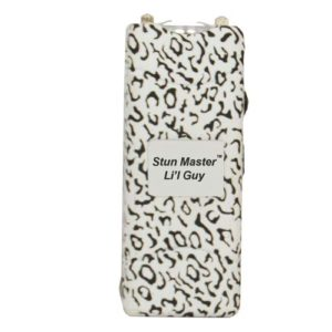 Front View of Animal Print Lil Guy Rechargeable Stun Gun Flashlight