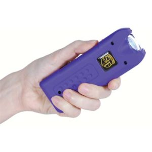 Purple MultiGuard Rechargeable Stun Gun With Personal Alarm and LED Flashlight Demonstrated in Hand