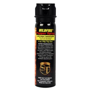 4 Ounce Flip Top Wildfire™ 1.4% MC Sticky Pepper Spray Gel Front View Active Ingredients
