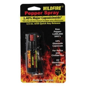 Wildfire™ Pepper Spray With Belt Clip and Quick Release Key Chain Viewed in Blister Packaging