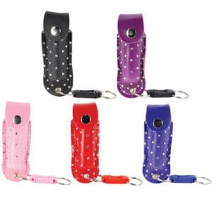 Wildfire™ 1.4% MC 1/2 oz Pepper Spray Rhinestone Holster All 5 Colors Viewed