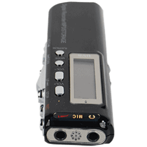 Mini Digital Telephone Voice Recorder Laying Down Showing View of Mic
