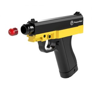 TCP PepperBall Launcher Pistol Gun Side View Firing Pepper Ball