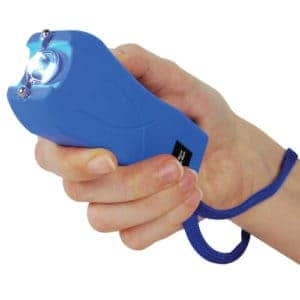 blue runt stun gun woman's hand safety strap