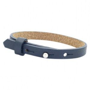 leren SOS armband donkerblauw