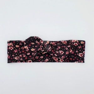 Wrap haarband black flowers