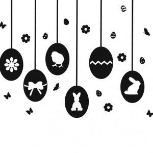 Raamversiering voor Pasen! Deze herbruikbare Raamsticker Paaseieren heeft voldoende afbeeldingen om een raam van 80 cm breed te bestickeren.
