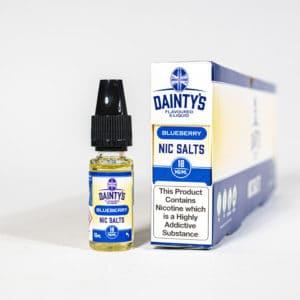 Eco Vape Dainty's Blueberry Nic Salt 10ml Blue White Background