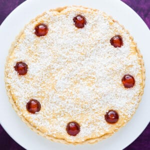 A Manchester Tart with a layer of custard and coconut.