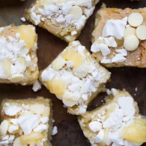 Overhead of lemon meringue blondie squares.